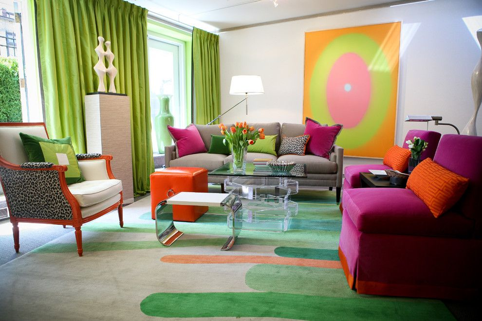 Persimmon Color for a Contemporary Living Room with a Animal Print and Kips Bay Showhouse by Eileen Kathryn Boyd Interiors