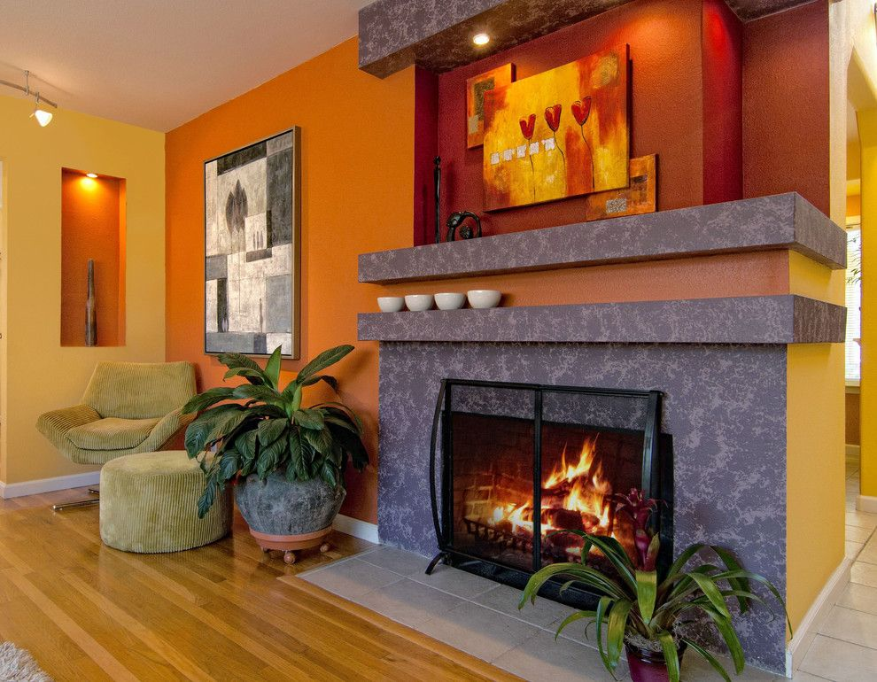 Persimmon Color for a Contemporary Living Room with a Fireplace and Private Residence by Artissimo   Idit Deutsch