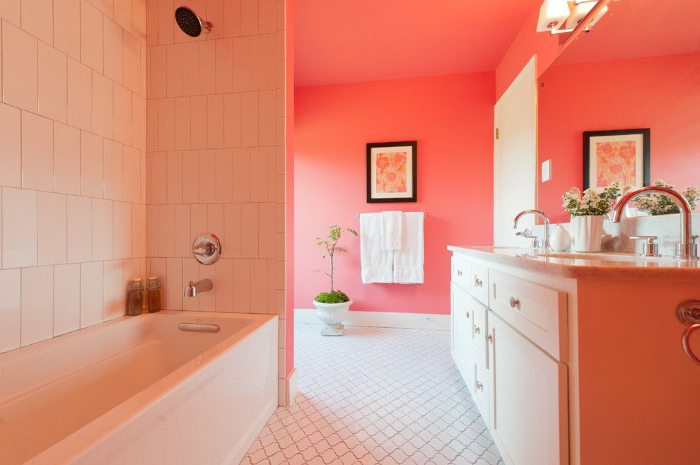 Persimmon Color for a Modern Bathroom with a Black Framed Artwork and Pink Bathroom by Schroeder