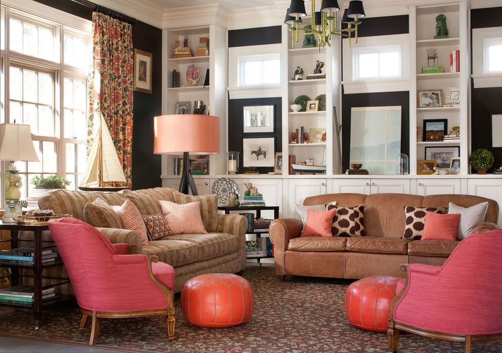 Persimmon Color for a Traditional Family Room with a Shelves and Country Club Classic by Nest Architectural Design, Inc.