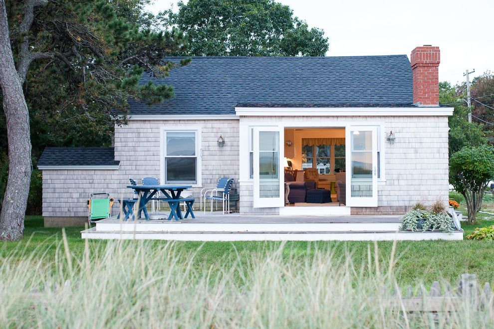 Philip Johnson Glass House for a Beach Style Exterior with a Gable Roof and Small Beach House Renovation by Caleb Johnson Architects + Builders