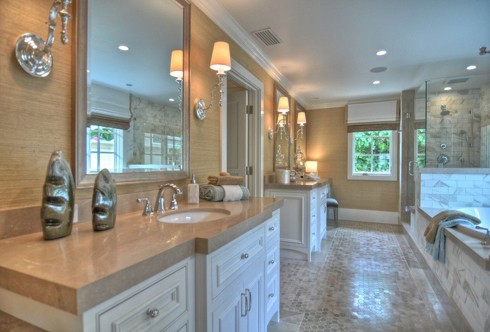 Phillip Jeffries for a Beach Style Bathroom with a Double Sinks and 1512 Dolphin Terrace by Spinnaker Development
