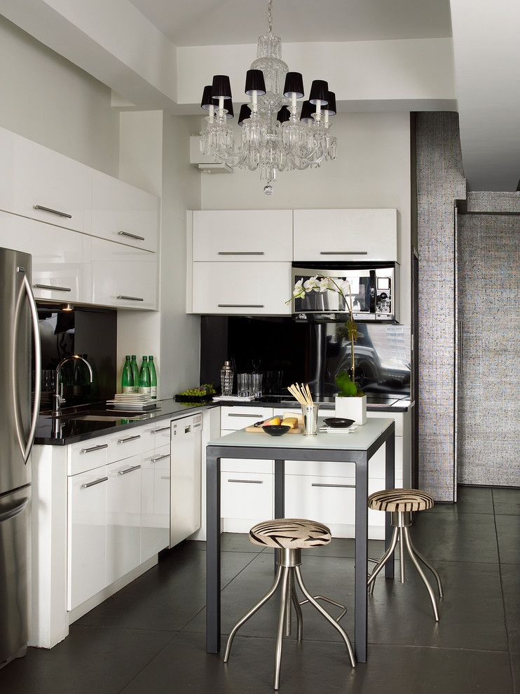 Phillip Jeffries for a Contemporary Kitchen with a Counter Stools and Chelsea Studio by Gregory Shano Interiors