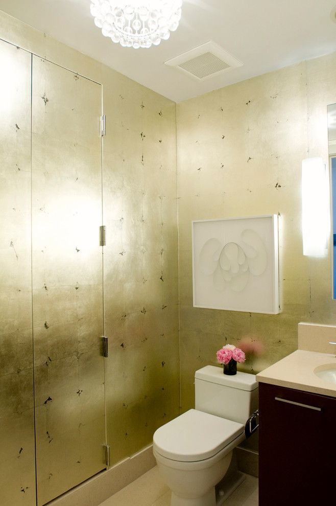 Phillip Jeffries for a Contemporary Powder Room with a Gold Wallpaper and San Francisco Tower by Eche Martinez