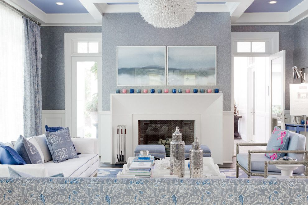 Phillip Jeffries for a Transitional Living Room with a Seating Area and Mabley Handler , Getaway to the 2013 Holiday House Hamptons by Rikki Snyder