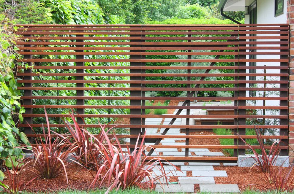 Phormium for a Contemporary Deck with a Gate and Menlo Park Deck It! by Groundworks Office