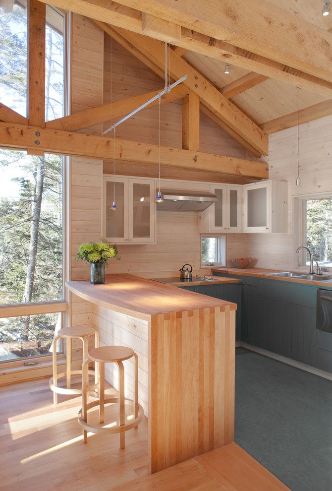 Pine Creek Structures for a Rustic Kitchen with a Stainless Steel and Kitchen by Whitten Architects