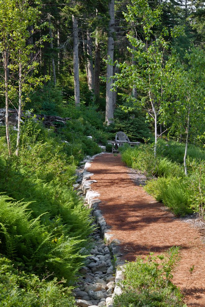 Pine Creek Structures for a Rustic Landscape with a Fieldstone and Le Petit Chalet by Matthew Cunningham Landscape Design Llc