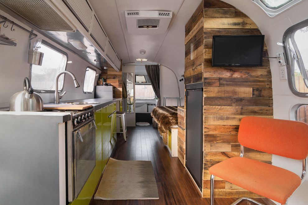 Pineapple Symbolism for a Contemporary Kitchen with a Bridge Faucet and My Houzz: New Life and Style for a 1976 Airstream by Lucy Call