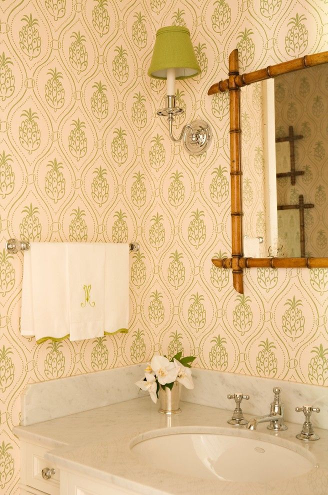 Pineapple Symbolism for a Eclectic Powder Room with a Sconce and Brentwood Regency Estate by Elizabeth Dinkel
