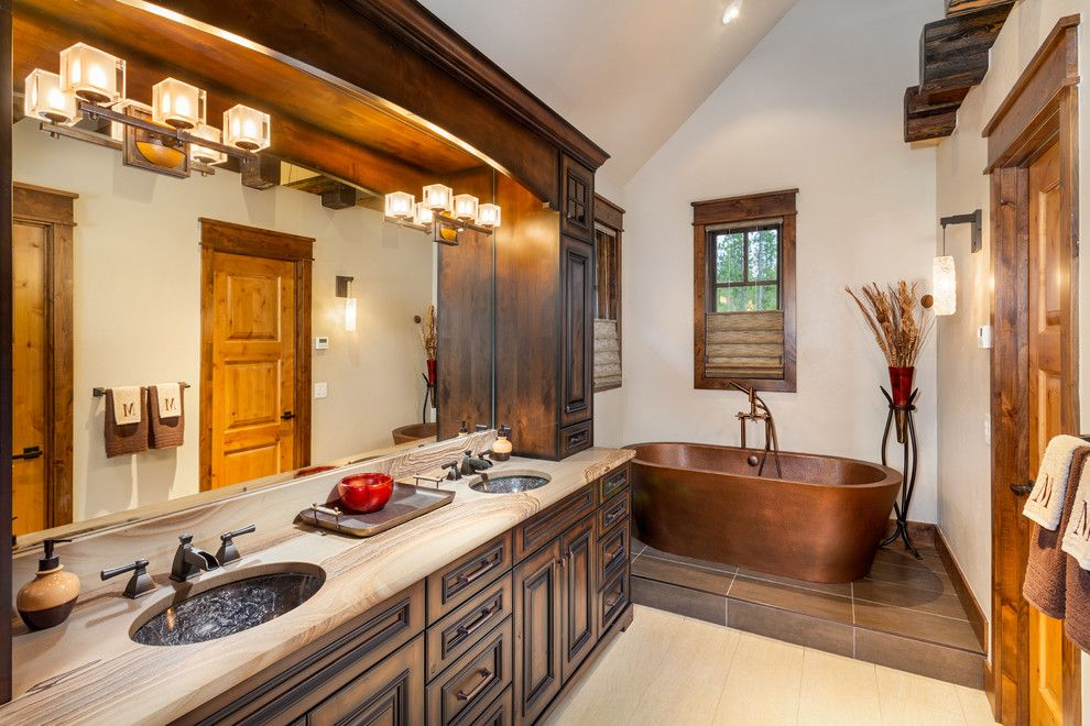 Pinnacle Homes for a Rustic Bathroom with a Two Sinks and 282 Peerless Drive   Bathroom by Pinnacle Mountain Homes