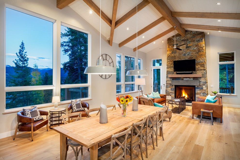 Pinnacle Homes for a Rustic Dining Room with a Mountain Views and 112 Windwood Circle by Pinnacle Mountain Homes