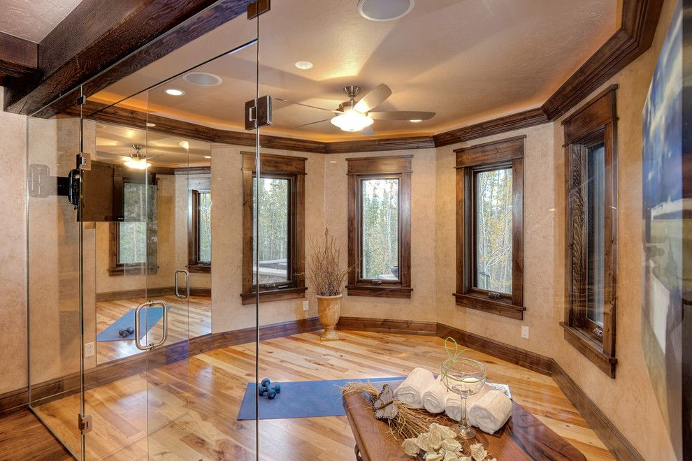 Pinnacle Homes for a Traditional Home Gym with a Dark Wood Molding and 834 Preston Way by Pinnacle Mountain Homes