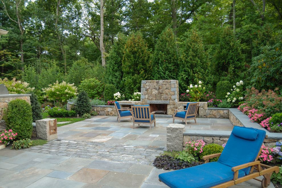Pino Tile for a Traditional Patio with a Arborvitae and Terraced Dover Haven by a Blade of Grass