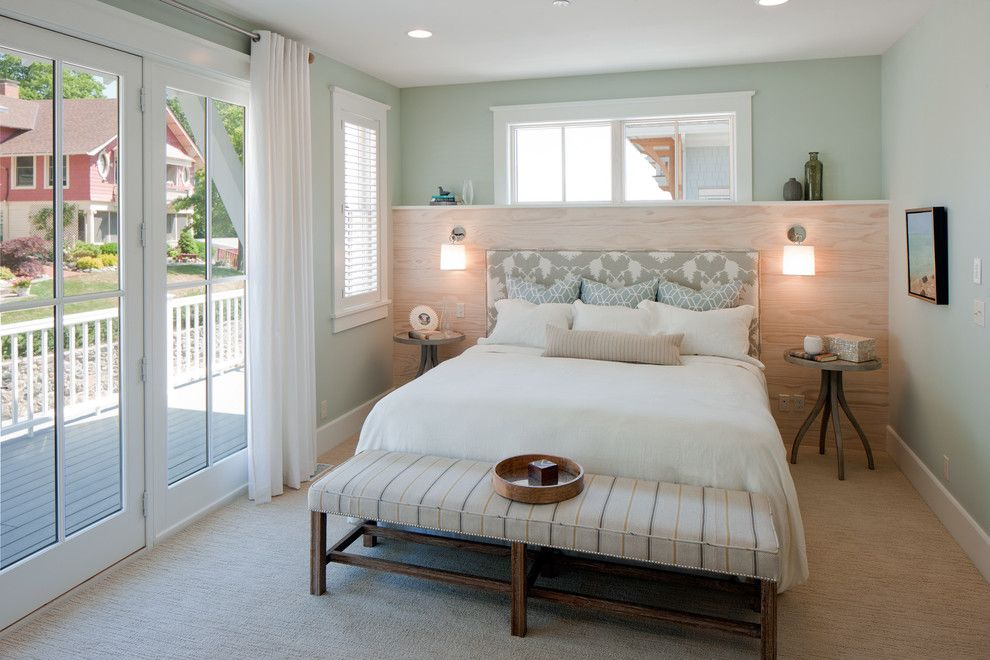 Pittsburgh Paints for a Beach Style Bedroom with a Striped Bench and West Michigan Windows by the Homestead Shop Inc.