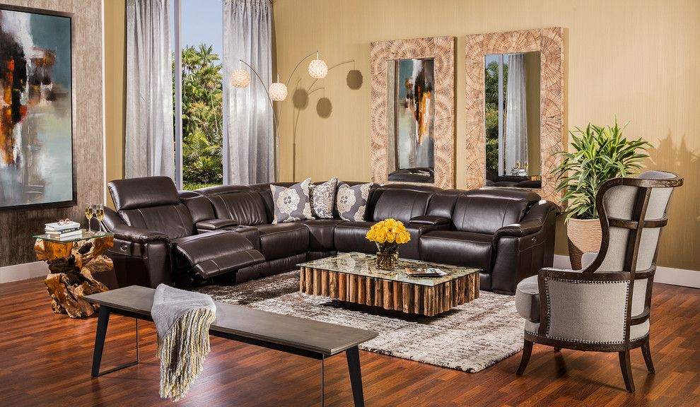 Platte Furniture for a Modern Living Room with a Accent Chair and Davis Espresso by El Dorado Furniture