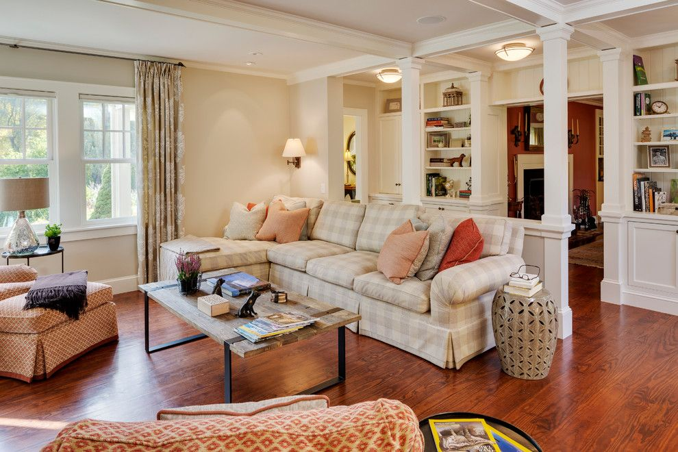 Platte Furniture for a Traditional Family Room with a Coffered Ceiling and Custom Kitchen and Family Room Remodel, Sudbury, Ma by Platt Builders