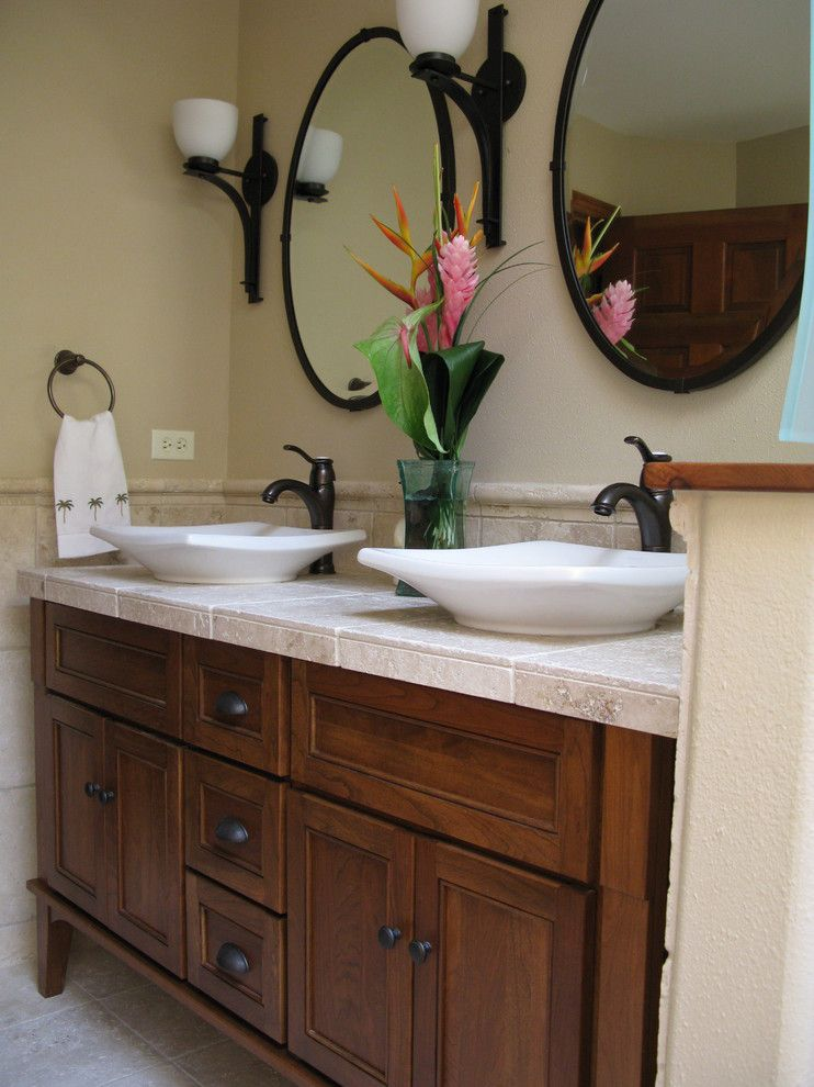 Platts Furniture for a Tropical Bathroom with a Furniture Style Cabinet and Lisaleo Designs by Lisaleo Designs
