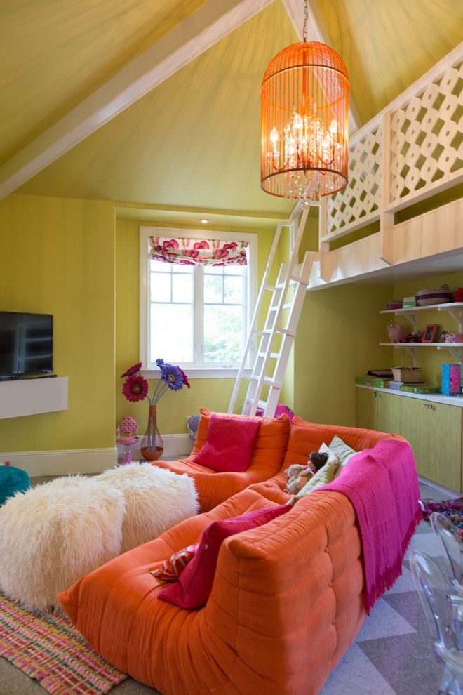Playroom Ideas for a Contemporary Kids with a Cage Chandelier and Playroom Loft by Studio H Design Group, Inc.