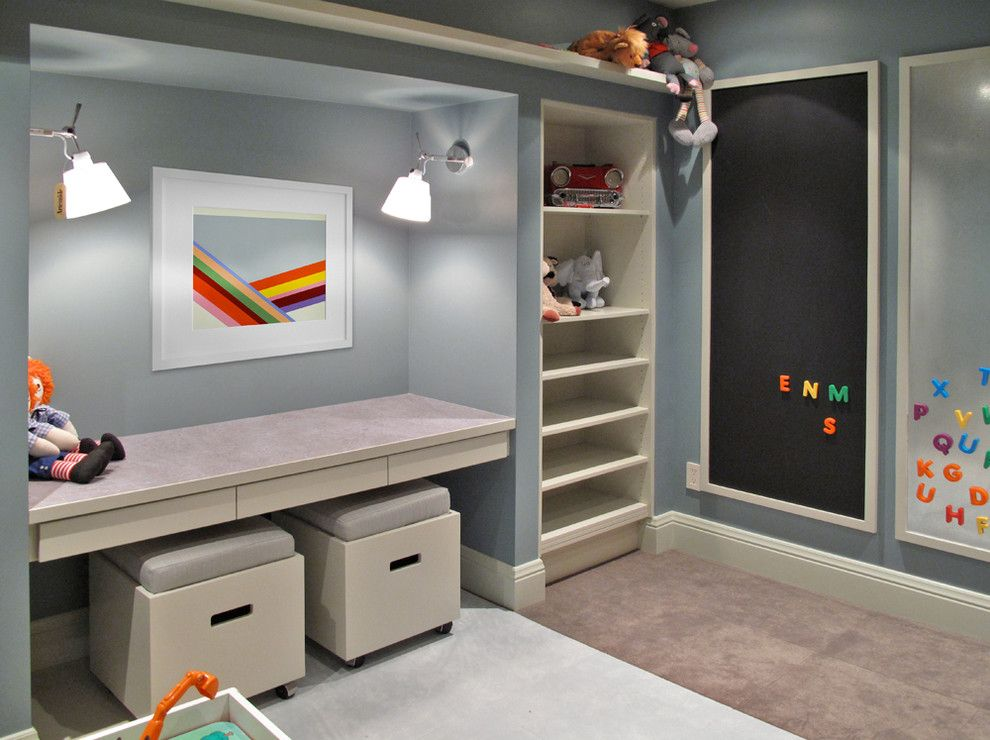 Playroom Ideas for a Contemporary Kids with a Magnetic Panel and Basement Redux by Barrett Studio Architects