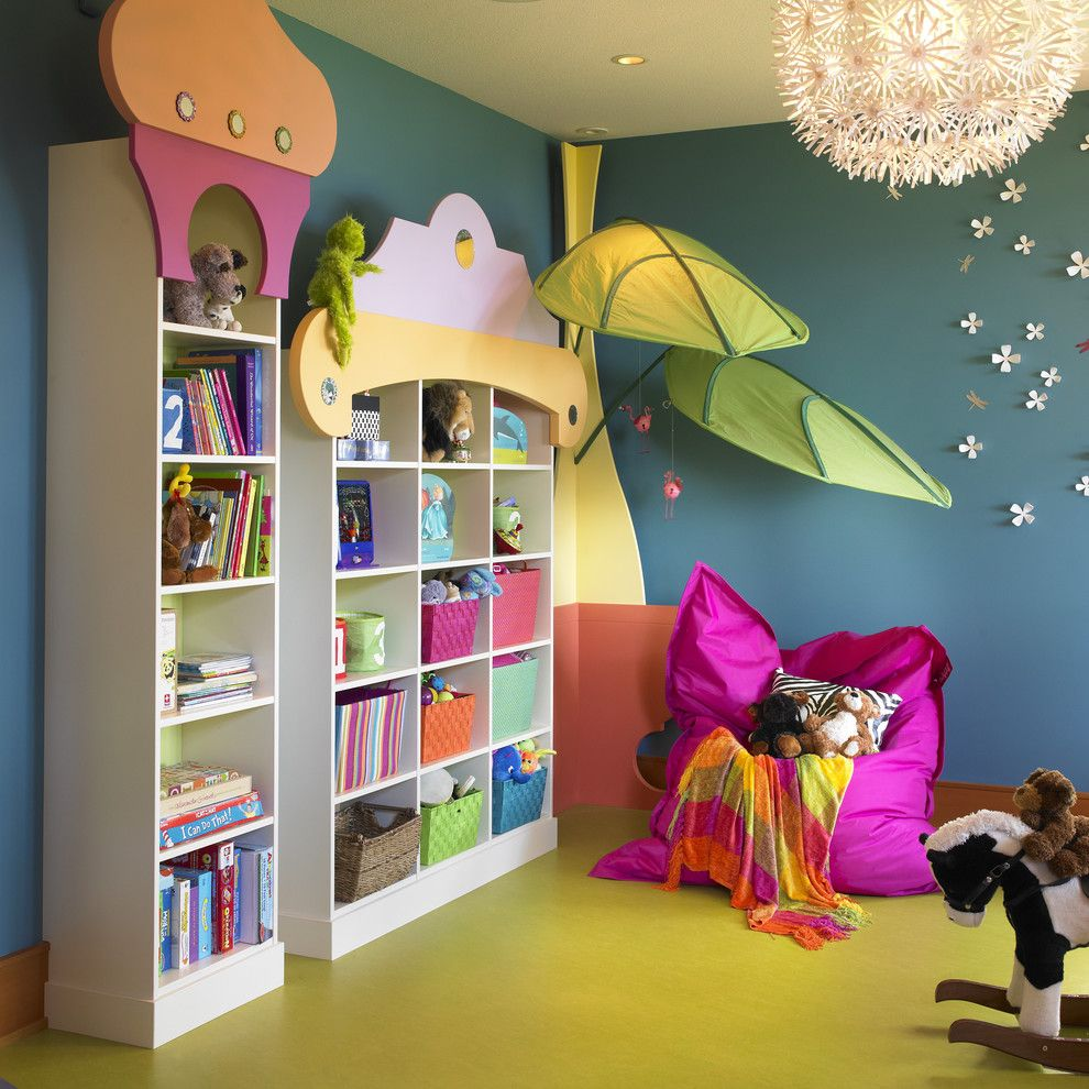 Playroom Ideas for a Eclectic Kids with a Lime Green Floor and Kids Playroom by the Sky is the Limit Design