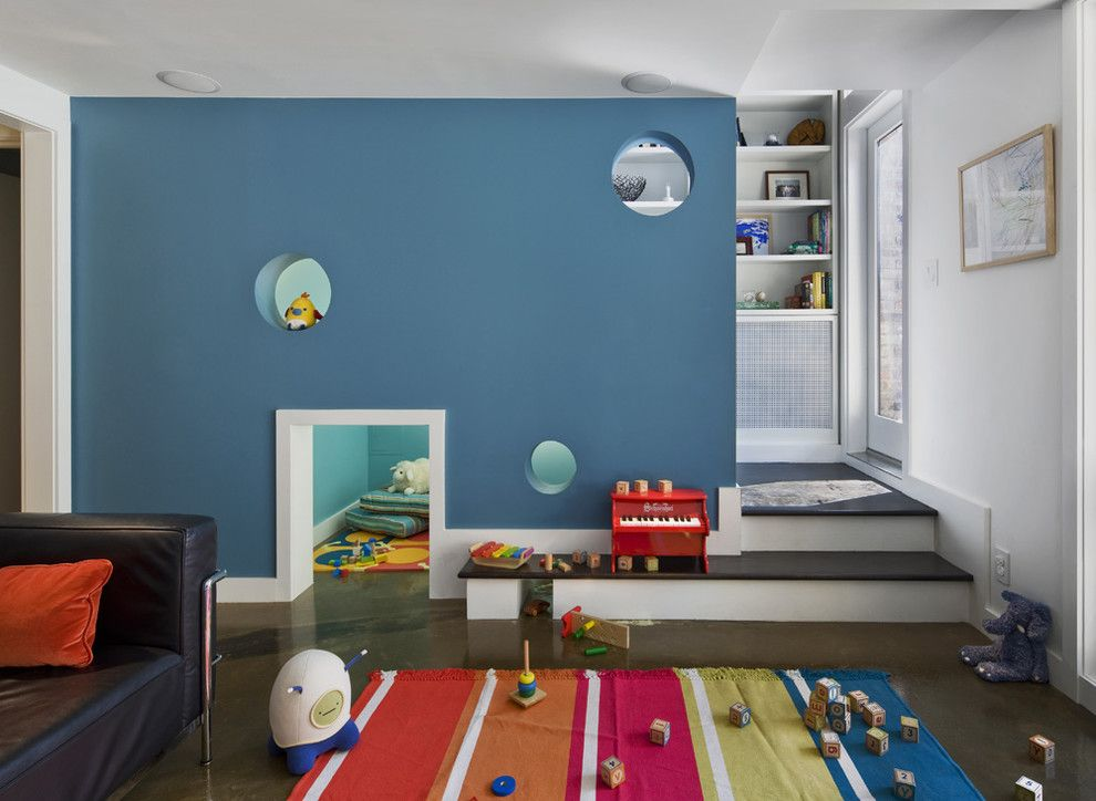 Playrooms for a Contemporary Kids with a Blue Wall and Bergen Street Residence by Cwb Architects