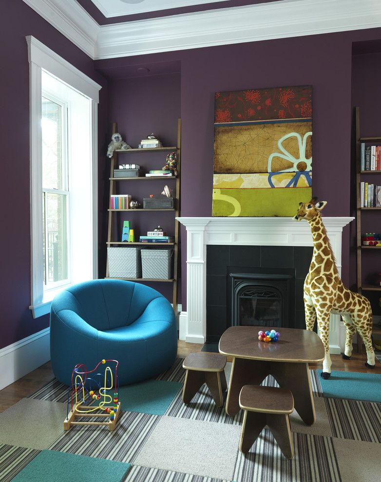 Playrooms for a Contemporary Kids with a Purple Wall and Playroom by Rachel Reider Interiors