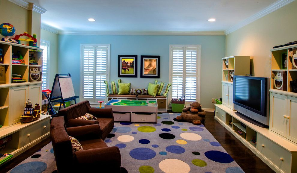 Playrooms for a Traditional Kids with a Yellow Wall and Culbreath Isles Georgian Revival; Addition by Sunset Properties of Tampa Bay