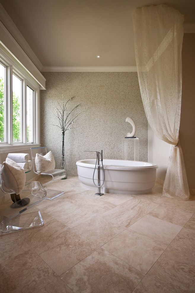 Plexi Craft for a Contemporary Bathroom with a Neutral Colors and Memphis Master Bath by Laura Burton Interiors