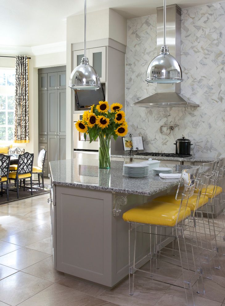 Plexi Craft for a Transitional Kitchen with a Silver Pendant Lights and Shadow Valley by Tobi Fairley Interior Design