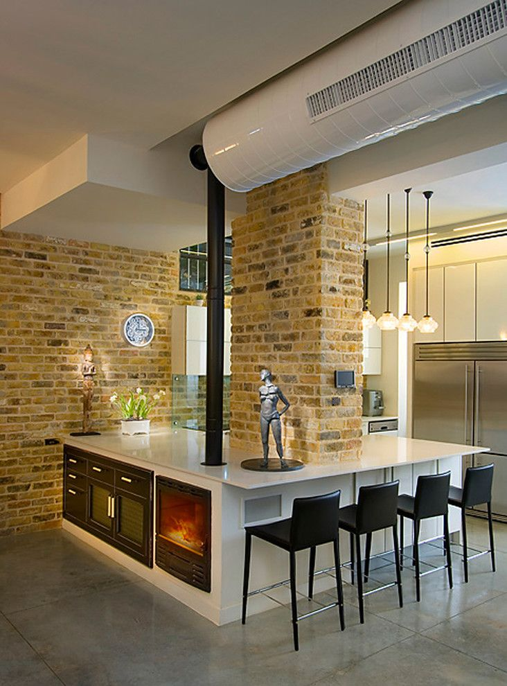 Plummers Furniture for a Industrial Kitchen with a Statues and Kitchen by Elad Gonen
