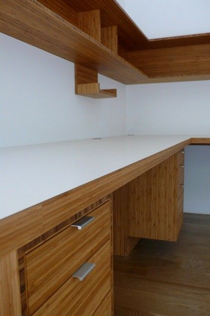 Plyboo for a Contemporary Spaces with a Bamboo Office Cabinets and Plyboo Office by Hirsch Custom Cabinets, Inc.