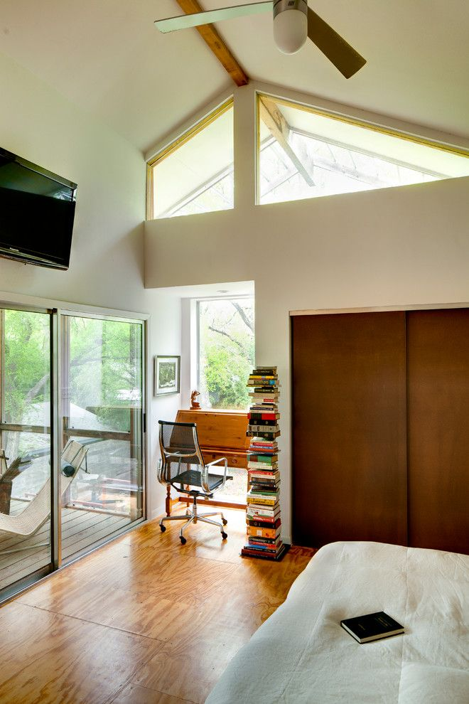 Plywood Flooring Ideas for a Contemporary Bedroom with a Contemporary and Groveland House by A.gruppo Architects   Dallas