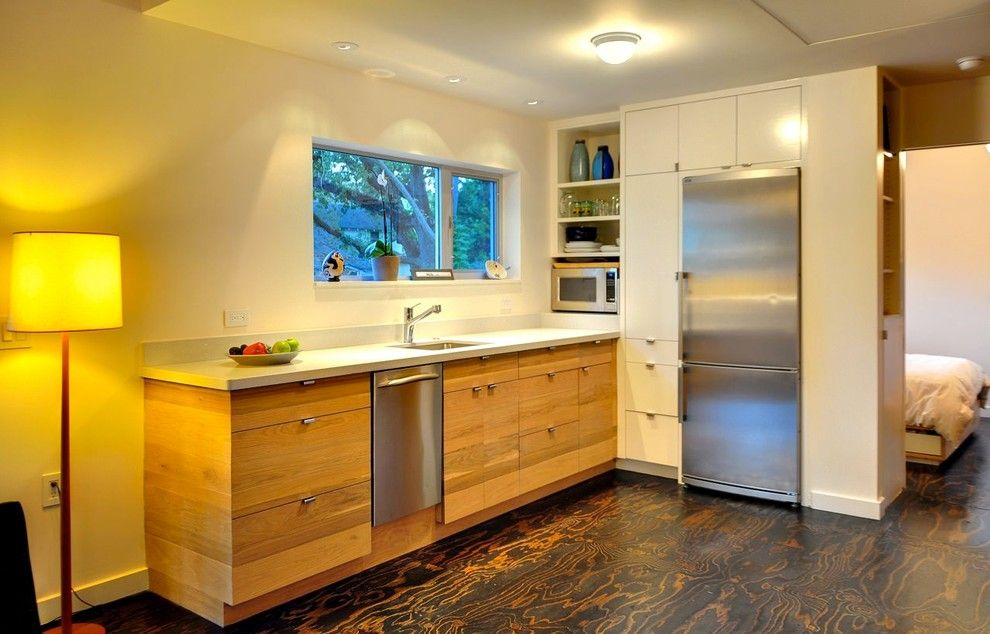 Plywood Flooring Ideas for a Contemporary Kitchen with a White Walls and Fisher Street House by Donna Kacmar