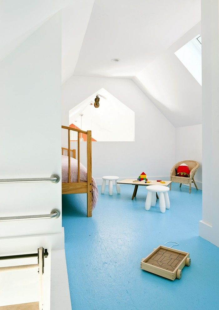 Plywood Flooring Ideas for a Farmhouse Kids with a Skylights and Passive House Retreat by Zeroenergy Design