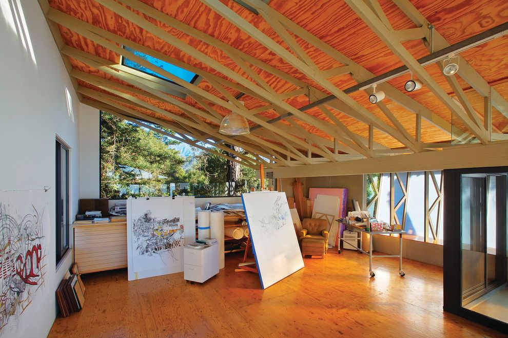 Plywood Flooring Ideas for a Rustic Home Office with a Santa Barbara and Santa Barbara Artists Studio by Shubin + Donaldson Architects, Inc.