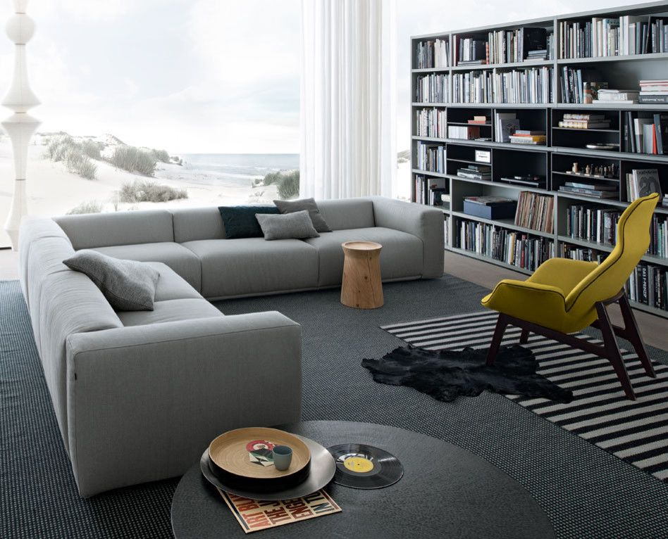 Poliform for a Contemporary Family Room with a Coffee Table and Living Room by Poliform Usa