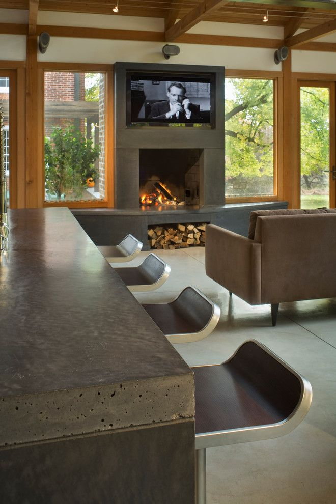 Polished Concrete Countertops for a Contemporary Living Room with a Bar Stool and Phillips Residence by Concreteworks East