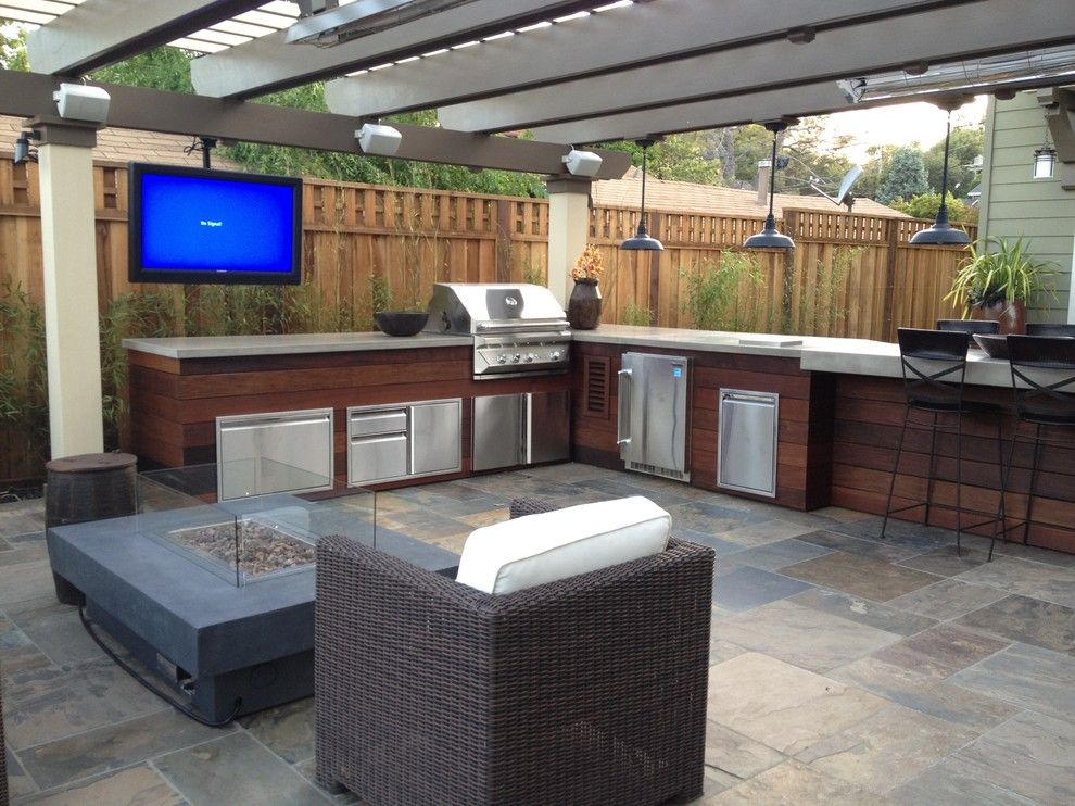 Polished Concrete Countertops for a Contemporary Patio with a Concrete Fire Pit and Los Gatos Man Cave by Divine Nature Landscape Design