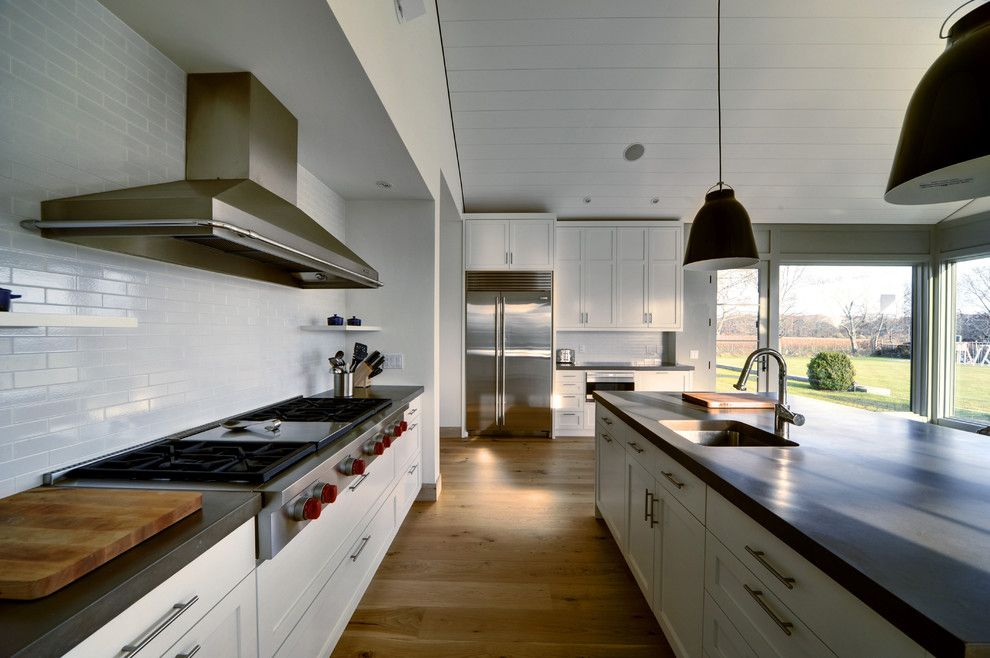 Polished Concrete Countertops for a Farmhouse Kitchen with a Jm Lifestyles and Hamptons Kitchen by Jm Lifestyles