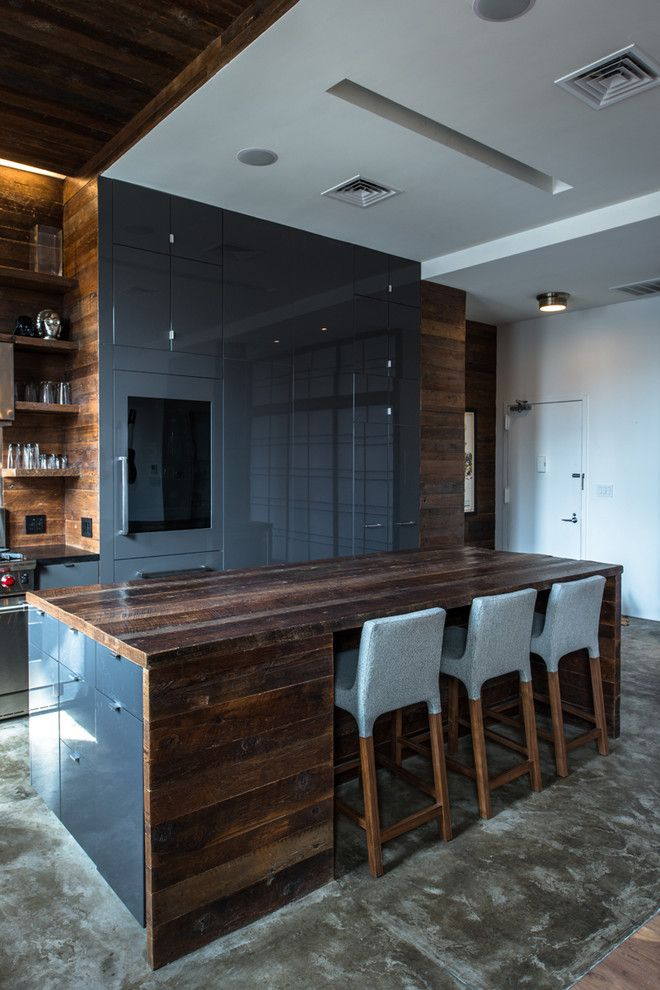 Polished Concrete Countertops for a Industrial Kitchen with a East Village and Jane Kim Design by Jane Kim Design