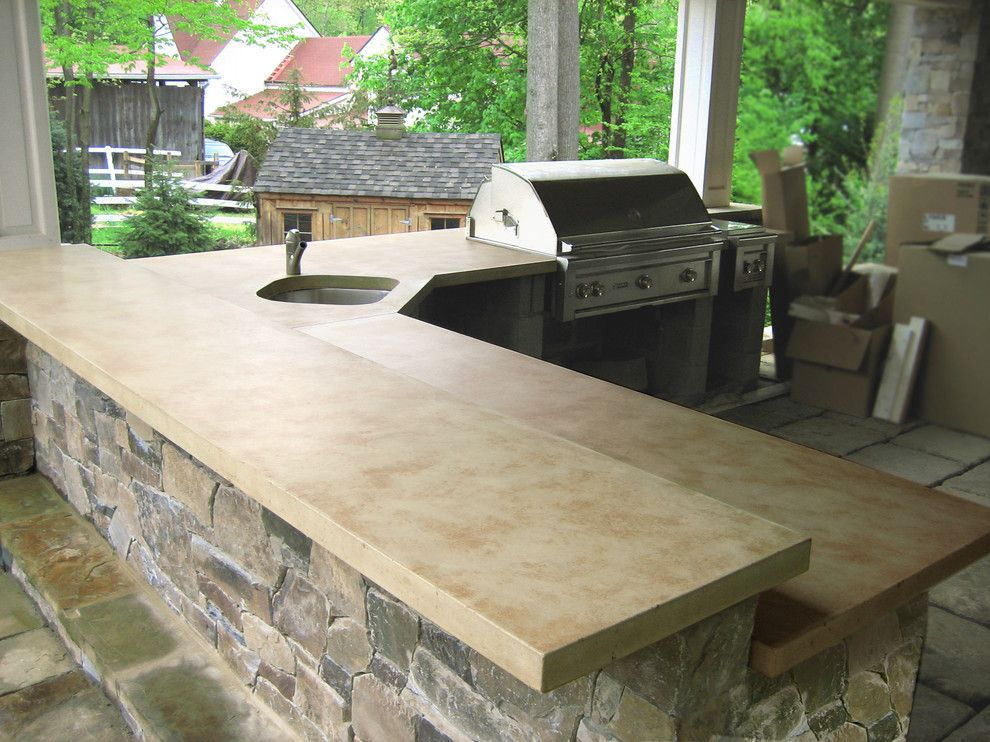 Polished Concrete Countertops for a Traditional Patio with a Concrete and Outdoor Ligth Brown Concrete Kitchen Countertops by Trueform Concrete