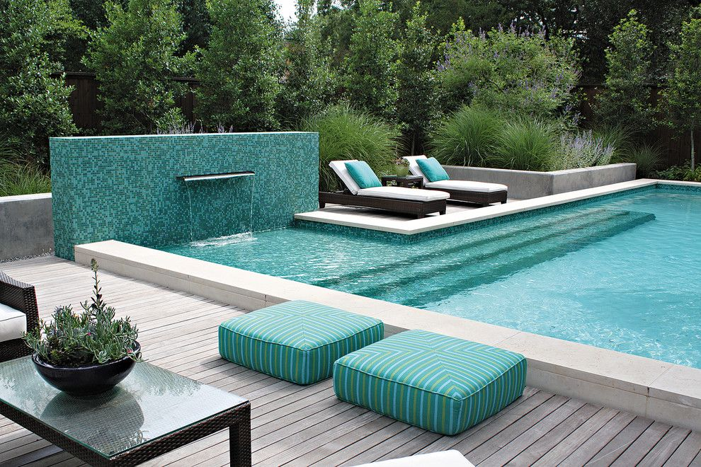 Pool and Spa Depot for a Contemporary Pool with a Outdoor Cushions and Pool with Mosaic Wall and Fountain by Bonick Landscaping
