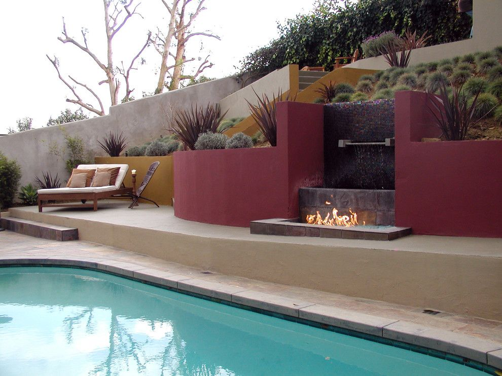 Pool and Spa Depot for a Modern Landscape with a Stucco Wall and Remarkable Gardens by Remarkable Gardens