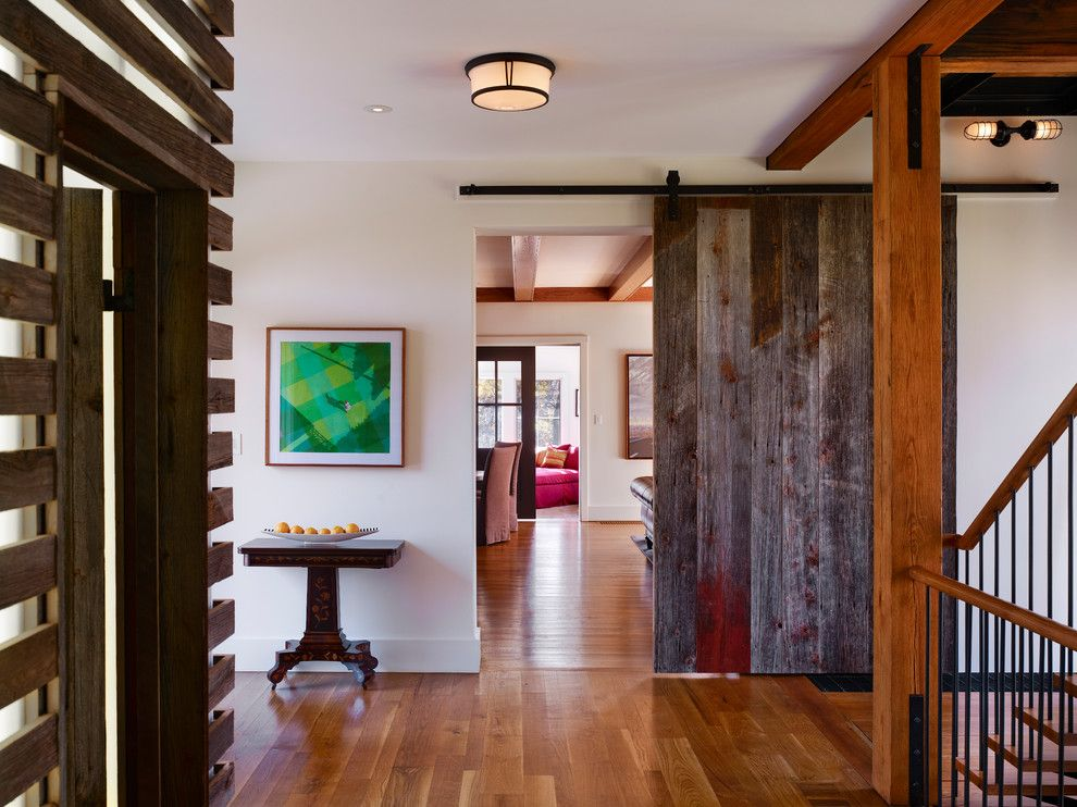 Porter Barn Wood for a Farmhouse Entry with a Bar Door and Bragg Hill by Moger Mehrhof Architects