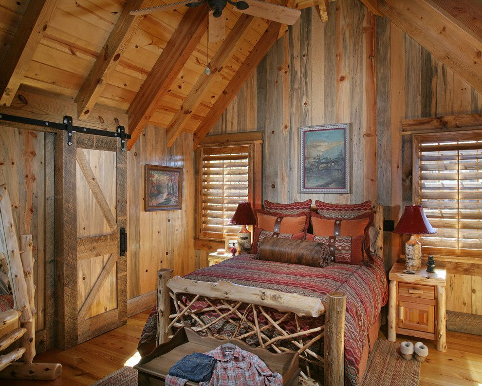 Porter Barn Wood for a Rustic Bedroom with a Attic and Wild Turkey Lodge Bedrooms by Michael Grant