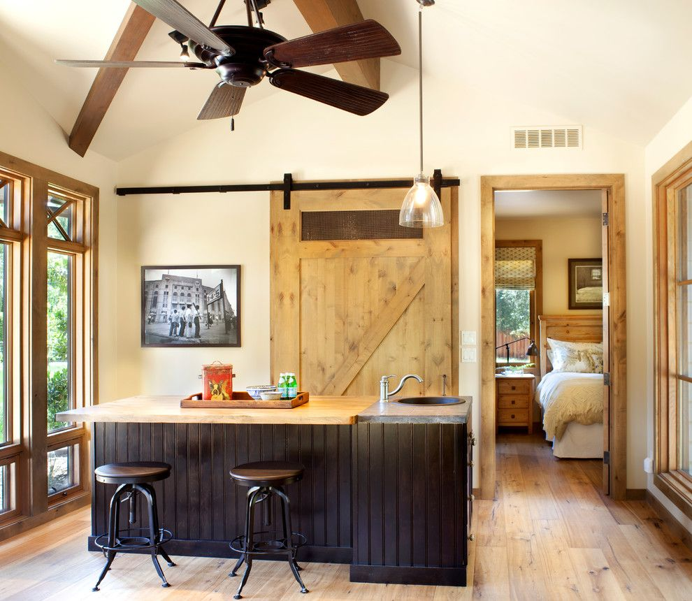 Porter Barn Wood for a Transitional Home Bar with a Dark Wood Bar and Mountain Modern by Home Matters Llc