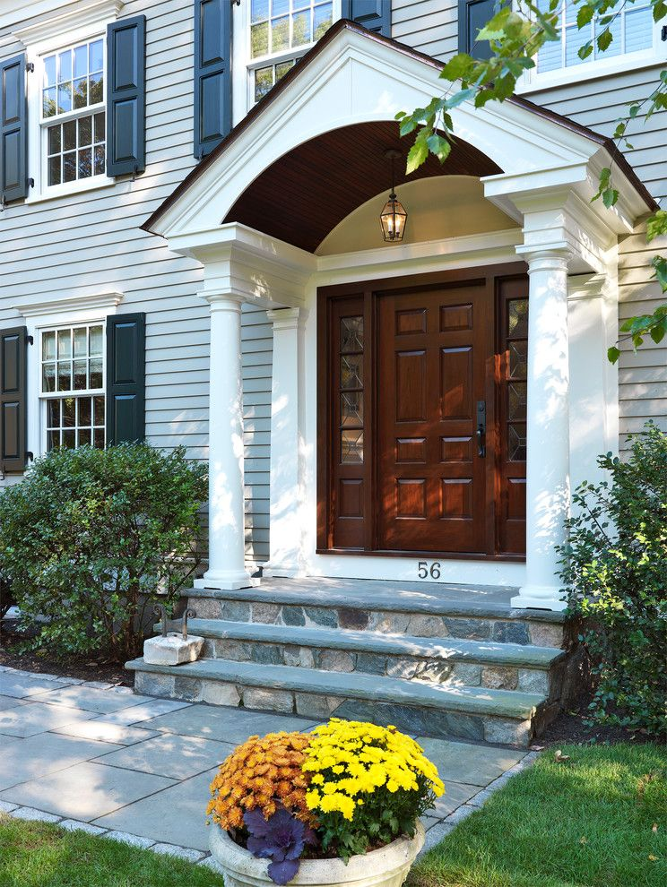 Portico Designs for a Traditional Entry with a Stoop and Colonial Touch by Jan Gleysteen Architects, Inc