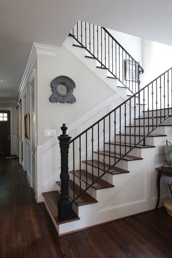 Poshtots for a Traditional Staircase with a Wrought Iron and Antque Newel Post by Cedar Hill Interiors, Llc