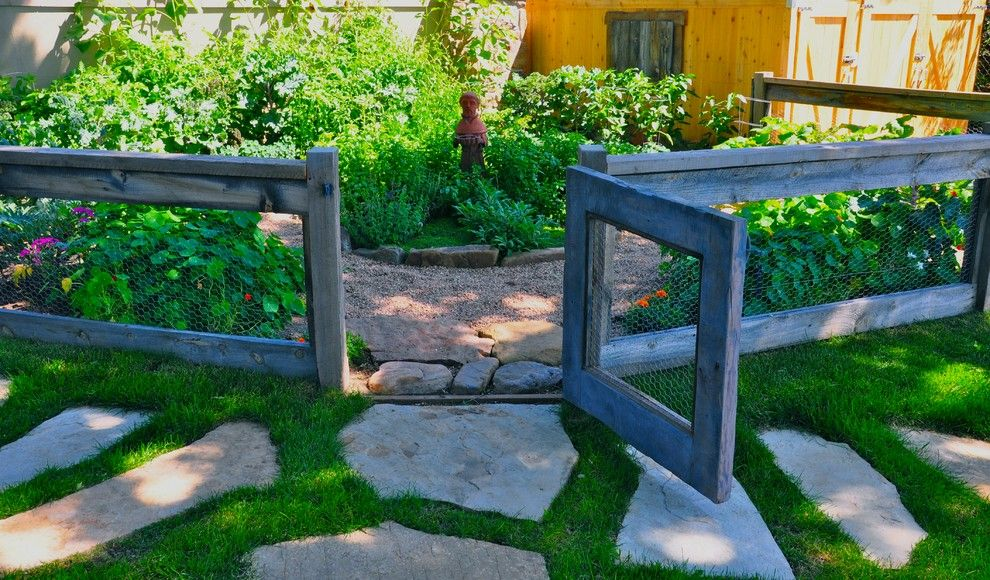 Potager Garden for a Eclectic Landscape with a Chicken Wire and Paths, Stairs and Gates by Designscapes Colorado Inc.
